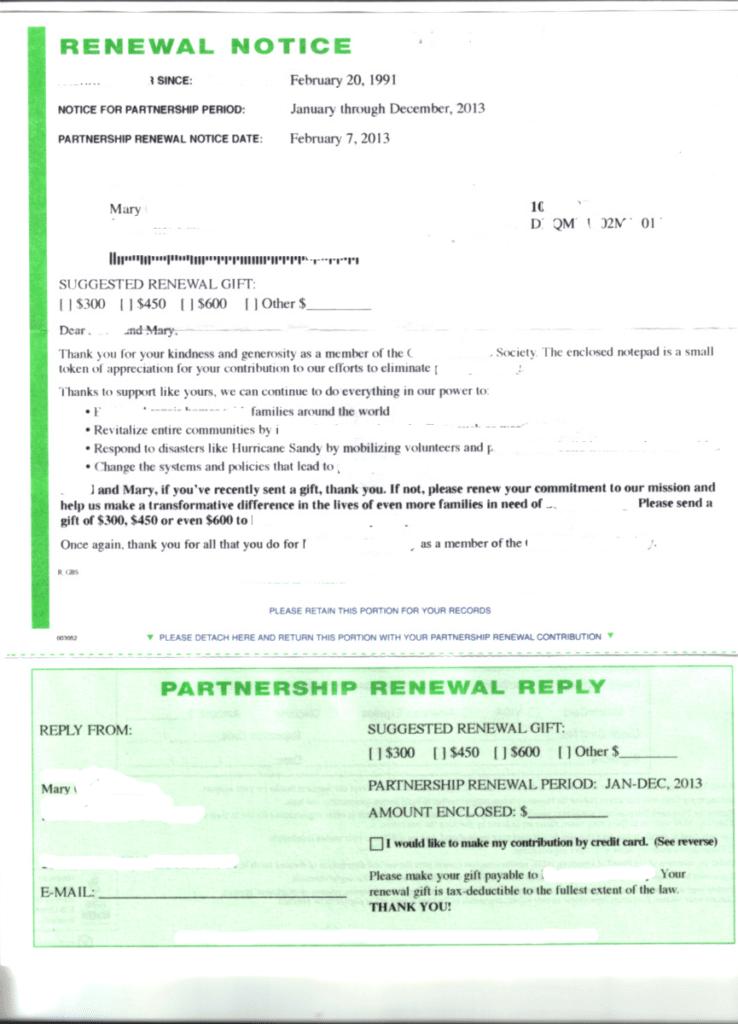 renewal notice