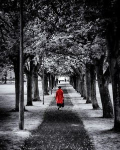 Red coat walking away