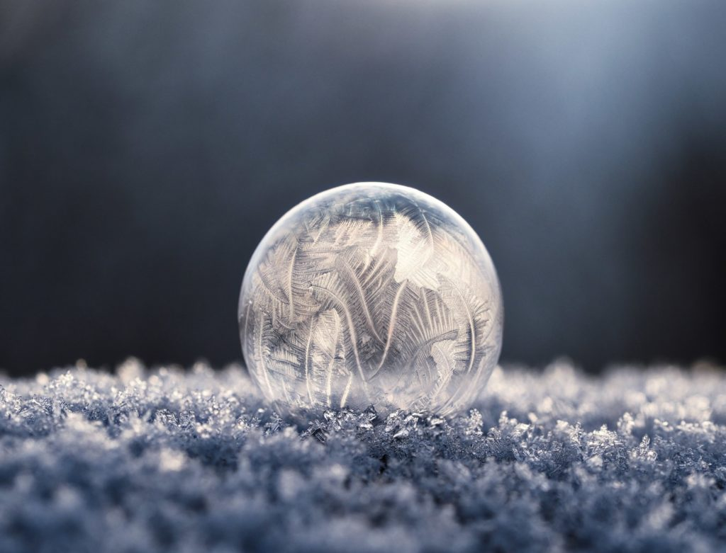 Glass ball with frost