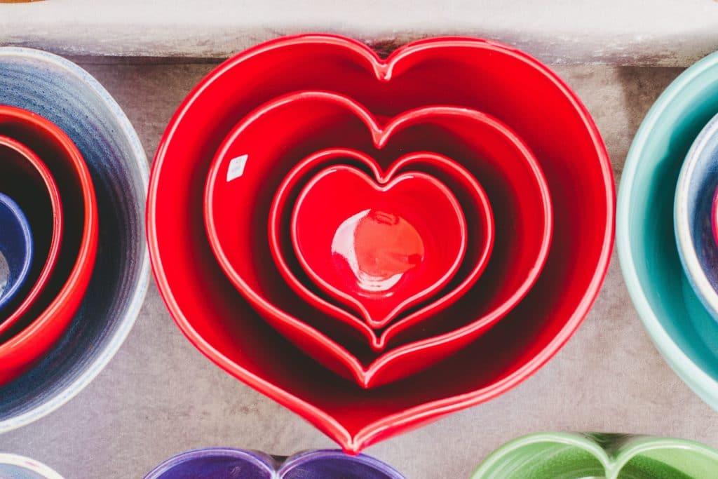 Nested heart-shaped bowls